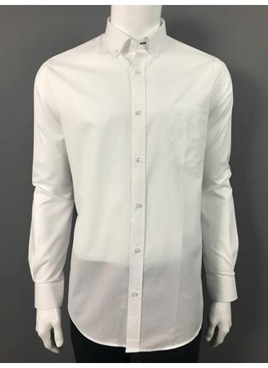 Abbate Düğmelı Yaka Armürlü Regularfıt Ceplı Gömlek Beyaz